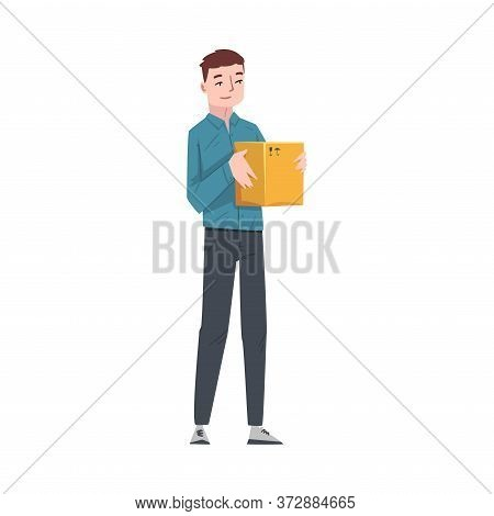 Guy Carrying Cardboard Box, Young Man Received Parcel Or Relocating To New Apartment Cartoon Vector