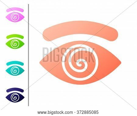 Coral Hypnosis Icon Isolated On White Background. Human Eye With Spiral Hypnotic Iris. Set Color Ico