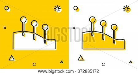 Black Acupuncture Therapy Icon Isolated On Yellow And White Background. Chinese Medicine. Holistic P