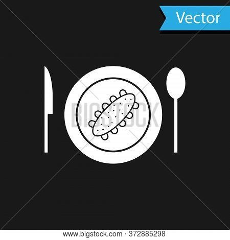 White Served Cucumber On A Plate Icon Isolated On Black Background. Marine Food. Vector.
