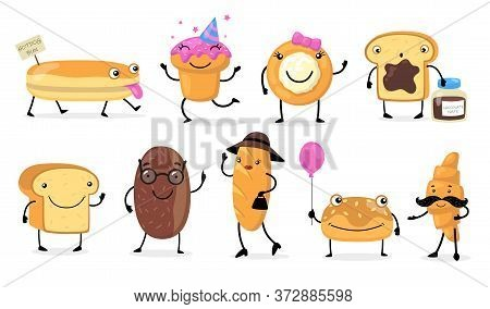 Various Funny Bread Characters Flat Icon Set. Cartoon Cute Baguette, Croissant, Buns And Bakery Past
