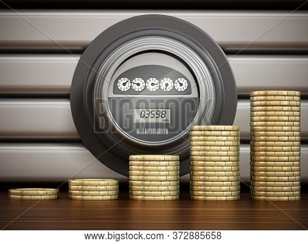Rising Gold Coins Standing In Front Of Electric Meters In A Row. 3d Illustration.