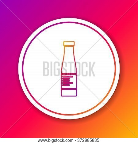Color Line Sauce Bottle Icon Isolated On Color Background. Ketchup, Mustard And Mayonnaise Bottles W
