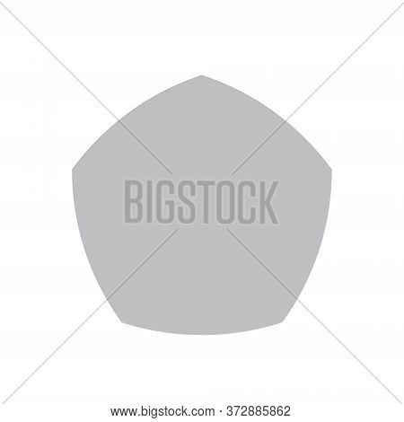 Grey Reuleaux Pentagon On White Background. Pentagon With Constant Width. Vector Illustration. Reule