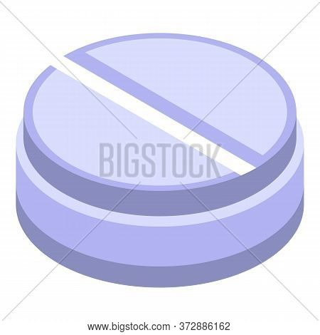 Round Nanotechnology Pill Icon. Isometric Of Round Nanotechnology Pill Vector Icon For Web Design Is