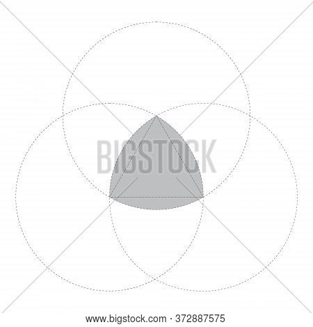 Grey Reuleaux Triangles On White Background. Triangle With Constant Width. Vector Illustration. Reul