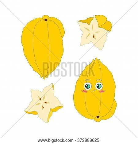 Vector Illustration Of Carambola Whole And Slice On A White Background In A Flat Style. Bright Set O