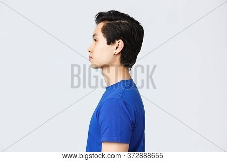 Lifestyle, People Emotions And Beauty Concept. Profile Portrait Of Stylish Good-looking Asian Hipste