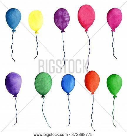 Colorful Air Baloons. Watercolor Object On The White Background. Hand Drawn Decorative Element Usefu