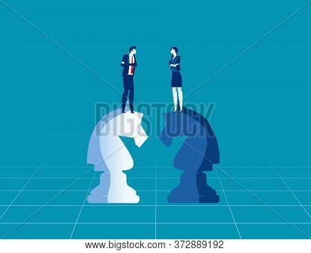 Business Competitors Playing Chess Striving, For Success. Business Strategy And Game Concept