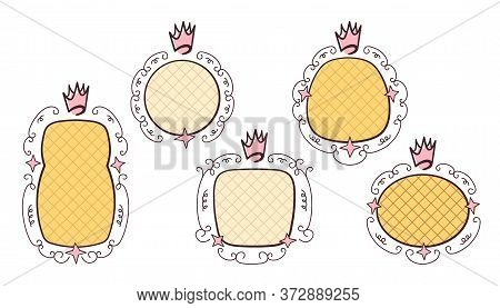 Princess Birthday Party Concept. Girl Mirror Frames Set With In Swirly Ornate Frames And Royal Crown