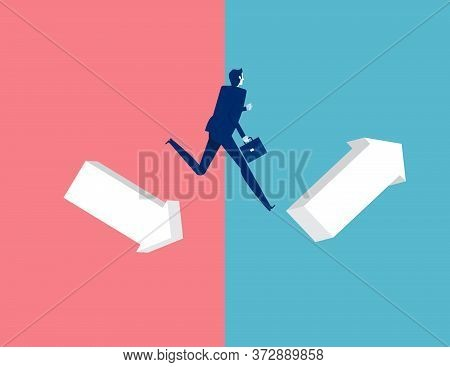 Man Jumping From Down Chart To Growth Chart. Business Leap Concept