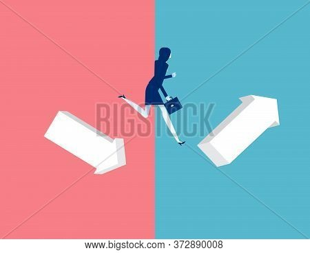 Woman Jumping From Down Chart To Growth Chart. Business Leap Concept