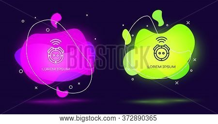 Line Robot Vacuum Cleaner Icon Isolated On Black Background. Home Smart Appliance For Automatic Vacu