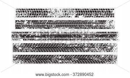 Vector Stock Wheel Grunge Tire Tracks Background Design. Vector Stock Illustration Of Trace Of Tires