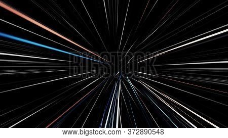 Abstract Creative Cosmic Background With A Hyper Jump Into Another Galaxy. Animation. Speed Of Light