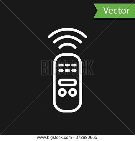 White Line Smart Remote Control System Icon Isolated On Black Background. Internet Of Things Concept