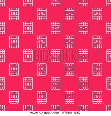 White Line Detonate Dynamite Bomb Stick And Timer Clock Icon Isolated Seamless Pattern On Red Backgr