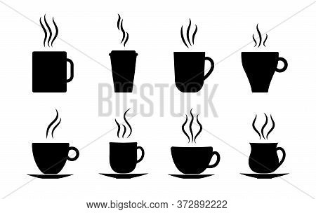 Coffee Cups Icon. Silhouette Of Hot Tea, Latte, Espresso With Steam. Cafe Symbol. Mug Coffee Drink T