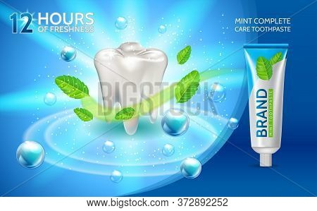 Mint Toothpaste Ads. Vector 3d Illustration With Toothpaste White Tooth And Mint Leaves Flavour Toot