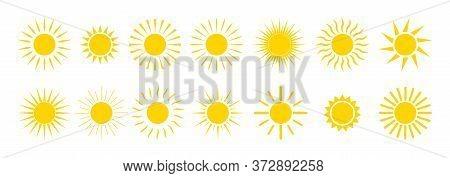 Sun Icons. Yellow Summer Sunrise And Sunset. Cartoon Graphic Sunshine Symbol. Sunny Morning With Sun