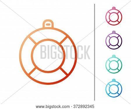 Red Line Lifebuoy Icon Isolated On White Background. Lifebelt Symbol. Set Color Icons. Vector