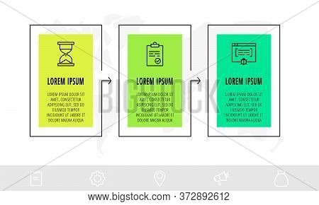 Timeline Creative Design Linear Infographics Template. Business Vector Illustration With 3 Options,