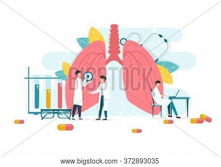 Pulmonology Concept. Creative Vector Illustration Of Medical Doctors Team Inspecting Lungs And Respi