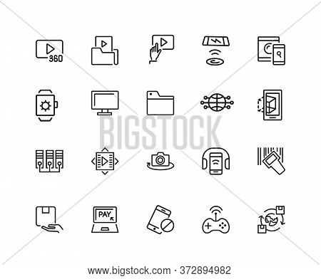 Discovery Icons. Set Of Twenty Line Icons. Video Content, Data Exchange, Online Service. Discovery C
