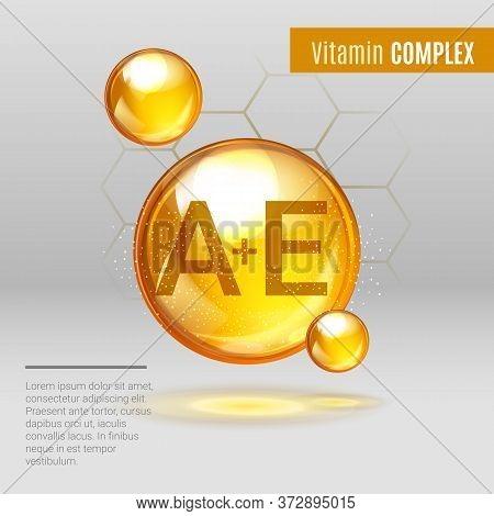 Vitamin A E Gold Shining Pill Capcule Icon . Vitamin Complex With Chemical Formula, Tocotrienols, Re