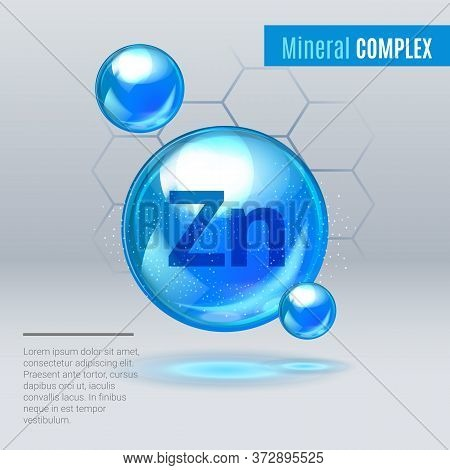 Mineral Zn Zink Blue Shining Pill Capcule Icon . Mineral Vitamin Complex With Chemical Formula . Shi