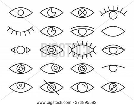 Line Eye. Human Eyes In Different Positions, Observe And Cry, Sleep, Eyeball Lens And Lashes, Superv