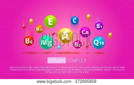 Vitamin Complex Colorful Vector Pills Capcule. Different Vitamins Icon In Bright Rainbow Colours. Ca