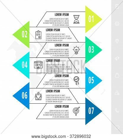 Infographics With 7 Elements With Arrows. Vector Concept Of Seven Business Options To Choose From. M