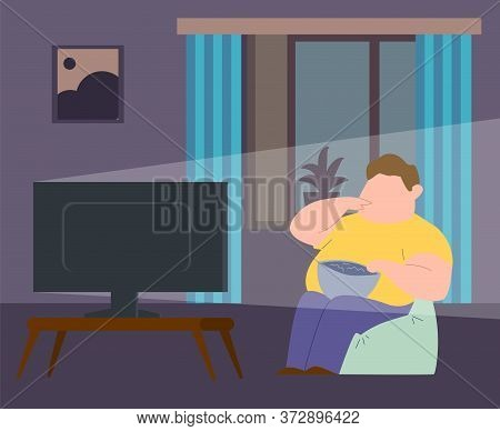 Eating Addiction. Fat Man Sitting In Chair, Waching Tv And Eating Fast Food. Concept Of Obesity, Bin
