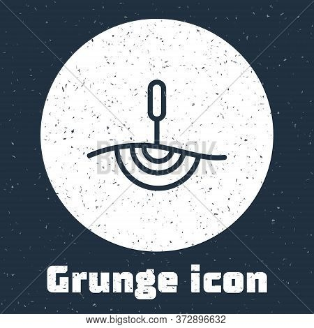 Grunge Line Acupuncture Therapy Icon Isolated On Grey Background. Chinese Medicine. Holistic Pain Ma
