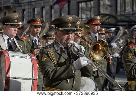 The Military Band Marches On The Victory Parade