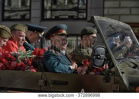 Russia, Sankt-petersburg - May 9, 2015 - Victory Day: The Immortal Regiment Parade In The Centre Of