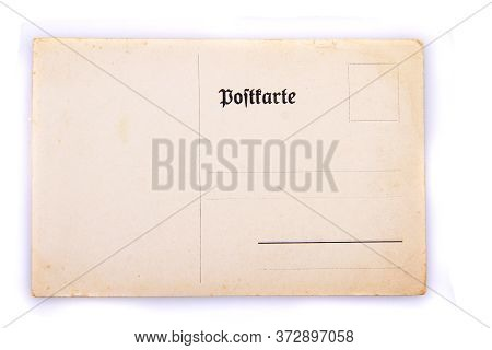 Very Old Postcard Isolated On The White Background