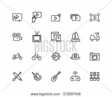 Hobby Icons. Set Of Twenty Line Icons. Webinar, Music, Art. Hobby Concept. Illustration Can Be Used
