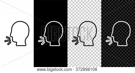 Set Line Man Coughing Icon Isolated On Black And White Background. Viral Infection, Influenza, Flu,