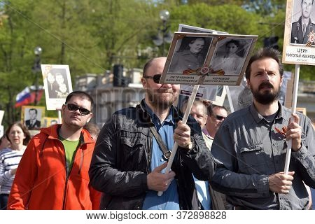 Immortal Regiment - People With Portraits Of Their Relatives, Participants In The Second World War,
