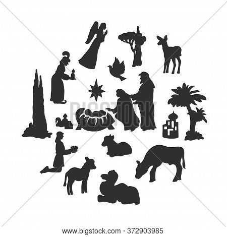 Merry Christmas Circle Banner On White Background. Christmas Crib Composition With Black Silhouettes