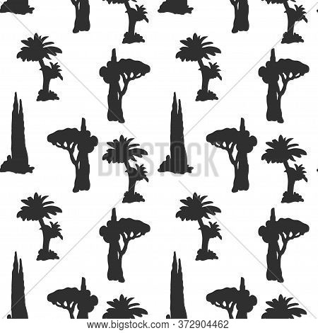 Seamless Pattern With Silhouettes Of Palm And Desert Trees On White Background. Vector Illustration.