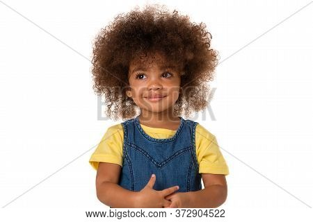 Childhood And People Concept- Portrait Of Lovely African American Little Girl, Over White Background