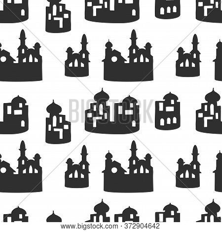 Seamless Pattern With Silhouettes Of Arabic Style Houses On White Background. Vector Illustration.