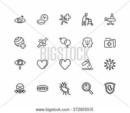 Medical Research Icons. Set Of Twenty Line Icons. Urgent Help, Heart Decease, Virus. Medical Researc