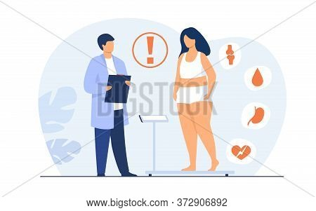 Fat Patient Visiting Doctor. Woman Suffering From Overweight, Obesity, Heart Disease, Having Diabete