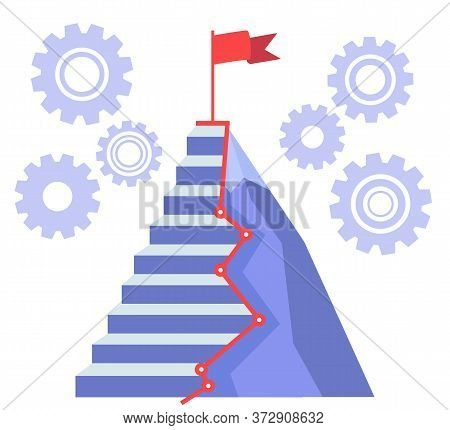 Career Ladder Or Staircase That Lead To Target. Red Flag Waving On Mountain Peak. Hard Thorny Way To