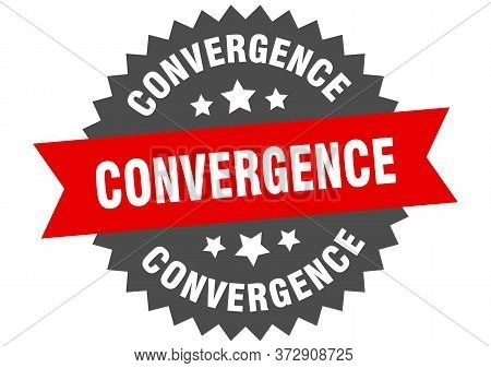 Convergence Sign. Convergence Circular Band Label. Round Convergence Sticker